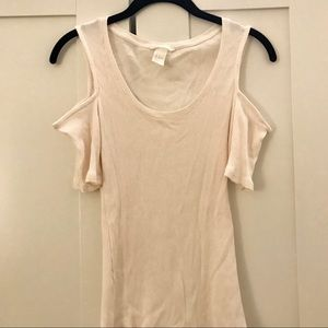 H&M Off The Shoulder Ribbed Top, White